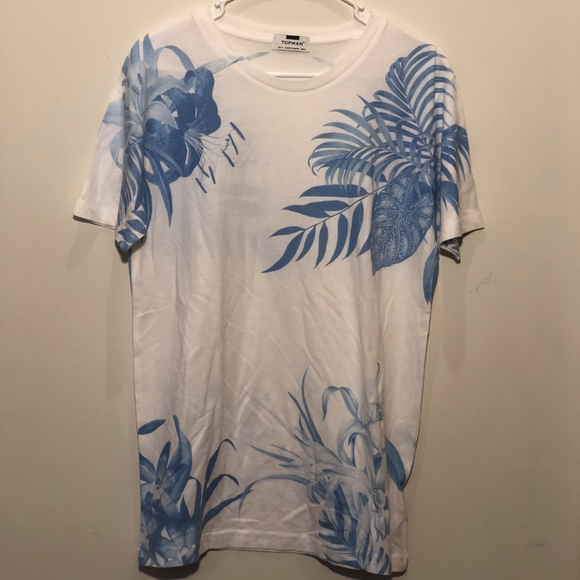 Topman Men's Small Hawaiian Tee White and Blue